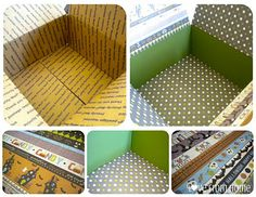 Scrapbook or wrapping paper to decorate the inside of the box! #carepackage #mail