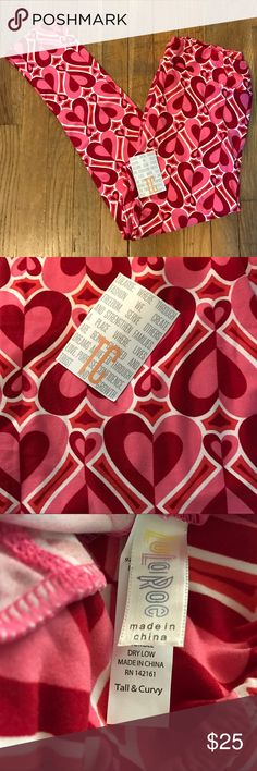 BNWT LuLaRoe Valentine's Heart Print Leggings Brand new with tags, still in the bag, LuLaRoe leggings. Size TC (Tall & Curvy) from the Valentine's Day Capsule Collection. Red, pink, and white heart design. Almost reminiscent of the Powerpuff Girls! Great with a tee or a dress. Butter soft and super comfortable. LuLaRoe Pants Leggings