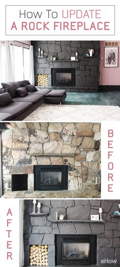 Instantly update that old  fireplace wit this easy to follow tutorial! Using paint, you can instantly make the living room modern and turn it into a focal point you are proud of! How-to here: http://www.ehow.com/how_12343229_update-rock-fireplace-using-paint.html?utm_source=pinterest.com&utm_medium=referral&utm_content=freestyle&utm_campaign=fanpage
