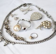 Friday the 13th SALE! Use coupon code LUCKY13 for $13 off any order over $30!!! White Rhinestone Destash Vintage Jewelry Lot
