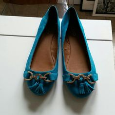 Aldo turquoise suede flats Suede turquoise flats w/fringes ALDO Shoes Flats & Loafers