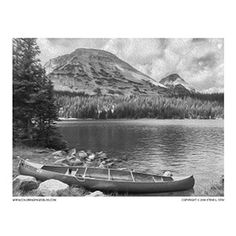 Grayscale Coloring Page of a Canoe by a Lake with Mountain