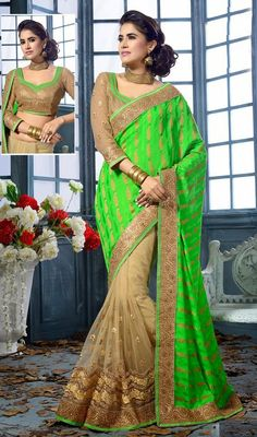 Cast a spell over the masses with this beige and lime green chiffon net half n half sari. This enticing attire is displaying some incredible embroidery done with lace, patch and resham work. #NewLatestEveningSarees