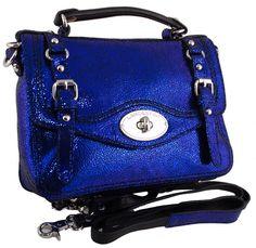 Disco convertible crossbody and satchel in blue glitter lambskin by Lancaster Paris Handbags :: Handbag Tailor Lancaster Paris, Blue Glitter, White Leather, Blue Denim, Jeans, Satchel, Velvet, Purses, Convertible