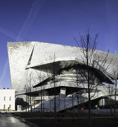 The facade of the new Philharmonie de Paris, designed by Jean Nouvel. Jean Nouvel, Innovative Architecture, Concert Hall, Paris Travel, Music Lovers, Europe, City, Festivals, Paris Paris