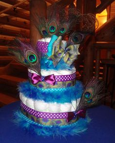peacock diaper cake | Peacock Diaper Cake by BettyCakesBakery on Etsy