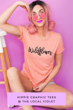 Hey Wildflower! This shirt will be one of your favorites! It is soft and comfy. For a hippie or bohemian look, wear it with a braid, hoop earrings, a kimono, and denim shorts. #wildflower #hippiegraphictees #bohographictees #hippieoutfit #hippiestyle #bohographictees Hippie T Shirts, Hippie Tops, Hippie Style, Hippie Chic, Jeans And T Shirt Outfit, Denim Shorts, Hippie Fashion, Bohemian Look, Hippie Outfits