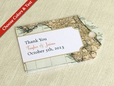 Florida Wedding Favor Tag - Florida Map Vintage - Destination Travel - Bridal Baby Shower Gift Tag - Custom Colors and Wording