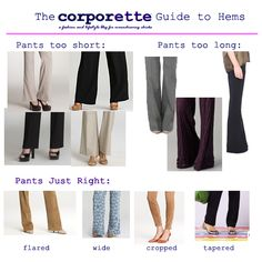 Guide to hems - especially appriciate the advice for hem legnth when wearing heels with pants.
