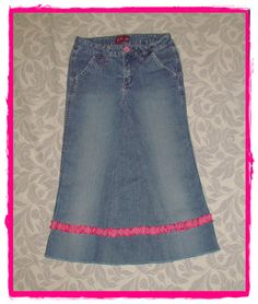 Girls Long Modest jean skirt size 14 by EastCoastSkirts on Etsy