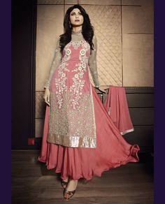 Shilpa Shetty Peach Net Bollywood Suit 61525