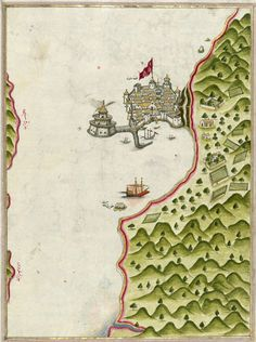 An illuminated map of Methana fortress in the Saronikos Bay, Greece, from the great Kitab-ı Bahriye (Book of Navigation) presented to Sultan Süleyman by the cartographer Piri Reis, 1525 Old Maps, Antique Maps, Vintage World Maps, Piri Reis Map, Map Globe, Book Art, Fantasy Map, Map Design, Historical Maps