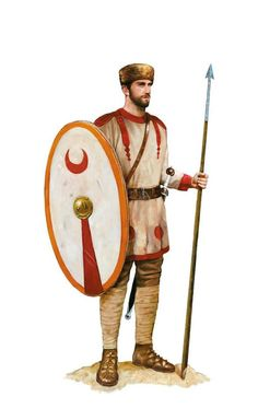 Lightly equipped Roman soldier of the Auxilia Palatina unit, a mid 4th century AD. Artwork by Tom Croft.