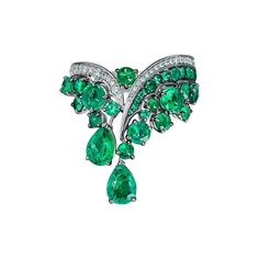 Vanleles Diamond Gemfield Emerald Legends of Africa High End Ring 1 White Gold Hoops, White Gold Rings, White Gold Diamonds, Emerald Bracelet, Emerald Jewelry, White Diamond Ring, Diamond Cuts, Vintage Style Rings, Vintage Jewelry