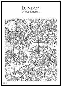 Handritad stadskarta över London i UK. Här kan du beställa stadskarta över din stad och andra svenska samt utländska städer.