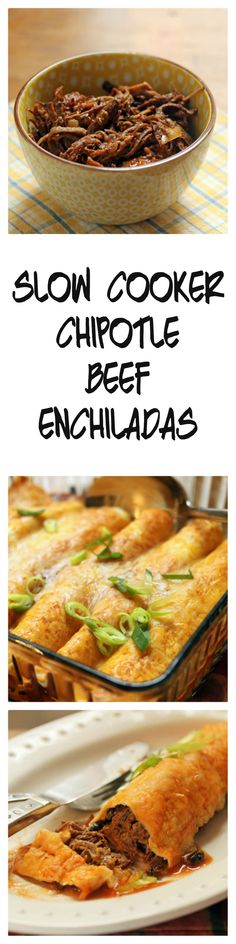 Make the beef ahead, in your slow cooker, and the enchiladas come together in less than 30 minutes!  From ThePerfectPantry.com.: