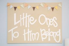Nursery Wall Art. Painted canvas with scrapbook paper pennant.