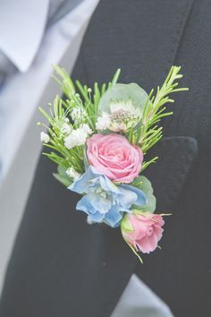 Pink Blue Buttonhole Groom Floral Pretty Country Garden Wedding http://lisahowardphotography.co.uk/