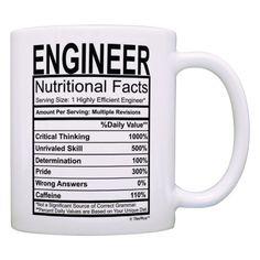 Engineer Nutritional Facts Label Mug. Contains engineering humor. Gift ideas for engineers. (National Engineers Week)