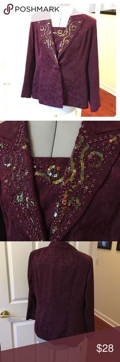 In The Mood purple jacket Embellished with beads and sequins is this purple jacket size 16 by In The Mood. Good condition. You can take out the snap in front under part In The Mood Jackets & Coats Blazers