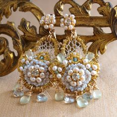 Water Lily Earrings by Edera Jewelry | Handmade Gold and Silver Lace Bridal Chandeliers with Pearls