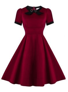 da30adc4517 50s Vintage Style Solid Burgundy Short Sleeves Party Cocktail Dress Green  Party Dress