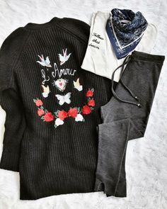 Cardigan L'amour, Remera, Joggineta y Pañuelo. #Casual #Invierno