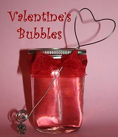 valentine's day bubbles with homemade heart wand