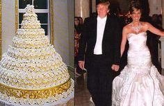 The Donald has never been known for subtlety or a less-is-more approach, and his 2005 wedding to model Melania Knauss was no exception. Knauss wore a custom-designed Dior dress made from 50 pounds of fabric, rhinestones, and pearls that was rumored to cost between $100,000 and $200,000--but only for the ceremony and first dance, after which she changed into a Vera Wang dress for the rest of the night. More than 500 guests drank $650 bottles of champagne and ate from a 200 pound cake sporting…