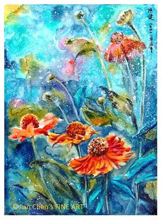 flowers  mounted original painting by JianChensFINEART on Etsy, £125.00