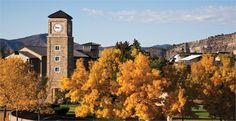 View of Fort Lewis College clock tower during fall.  For more information: www.fortlewis.edu