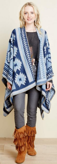 Tribal Western Blue and White Poncho.