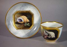 A Flight & Barr Worcester Shell-decorated Tea Cup and Saucer, Circa 1800-10