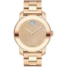 Movado Bold Glitter & Rose Goldtone IP Stainless Steel Bracelet Watch ($755) ❤ liked on Polyvore featuring jewelry, watches, accessories, bracelets, apparel & accessories, rose gold, water resistant watches, stainless steel wrist watch, rose gold tone jewelry and golden watches