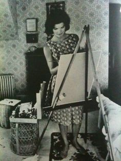 The artist, Jacqueline Kennedy, in her little studio.