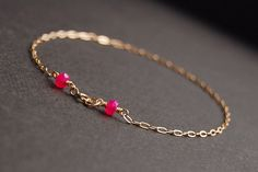 Pink Chalcedony Anklet gold anklet gold filled by MajaOlender
