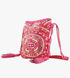 Pink Cotton Embroidered and Mirror Work Sling Bag #embroidery #clutches #slingbags #cotton
