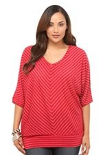 Twist Tees - Red Lurex Striped Dolman V-Neck Top  LOVE. Torrid