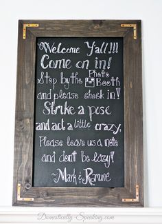 DIY Rustic Chalkboard Wedding Sign ~ You can make one too!