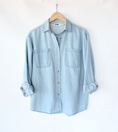 Vintage 80s Light Blue Jean Button Up Shirt // Women's Spring Denim Top. $30.00, via Etsy.