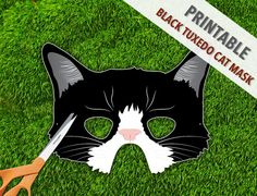Black Tuxedo Cat Mask  Childrens Party Mask  by theRasilisk, $3.99