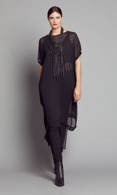 BLACK SHEER LONG OVERDRESS 2167.1800BLK