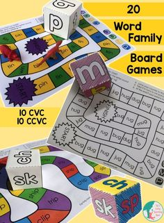 20 fun word family board games for kids to practice reading! 4 for each short vowel. In color and black and white, which means 40 games in all! $