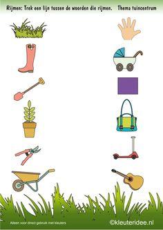 Rijmen rond de tuin , thema tuincentrum, kleuteridee , free printable.