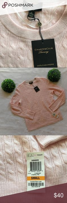 """NWT Charter Club Baby Pink 100% Cashmere Sweater New with tags Charter Club gorgeous baby pink colored 100% cashmere crew neck sweater. Absolutely no flaws so it would make a great gift for someone you love. Purchased from Macy's. Size small, 23"""" long, 36"""" chest, and 17"""" from armpit to cuff. I'm only looking to sell at this time so sorry but no trades. My listing price is firm so please no lower offers. Charter Club Sweaters"""