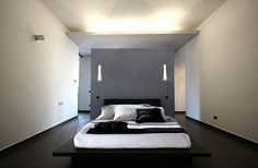 minimalistisch einrichten Schlafzimmer glanz beleuchtung