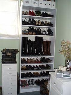 More bookshelves turned shoe storage (adjustable shelves allow storage for boots).