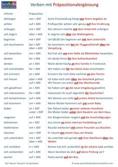 German as a foreign language - learn German. Verbs with prepositions must be added. - level of education Study German, German English, Learn German, Learn French, Learn English, German Grammar, German Words, Verben Mit Dativ, Deutsch Language