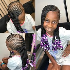 Trendy Braids For Kids Black Children Daughters Little Girl Braid Styles, Kid Braid Styles, Little Girl Braids, Black Girl Braids, Braids For Black Hair, Hair Styles, Kids Braids With Beads, Braids For Kids, Girls Braids