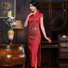 Fabric: Brocade Length: Full-Length Silhouette: A-line Pattern: Phoenix Neck: V Neck Sleeve: Cap Sleeve Phoenix, Cheongsam Dress, Line Patterns, Appliques, Cap Sleeves, Cute Dresses, Cool Outfits, Chinese, Models